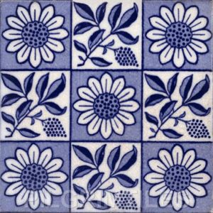 Arts and Crafts Sunflower 9 square design Blue