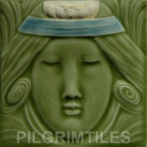Lady  Green /Blue Headband Art Nouveau Arts and Crafts Tile124