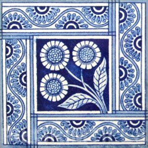 Aesthetic Movement tile  -  Blue Daisy