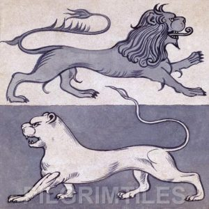 William de Morgan Design Lions Fireplace Tiles  blue/white