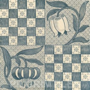 Tulips & Chequers Aesthetic / Arts & Crafts / Nouveau Tile