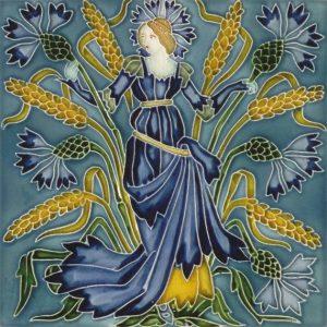 Walter Crane Flora'sTrain tile Cornflower