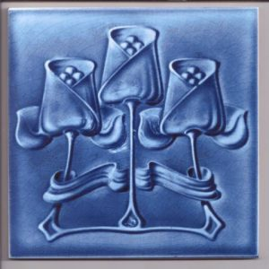 Art Nouveau Single Colour Stylised Blue Flower  Tile ref 010