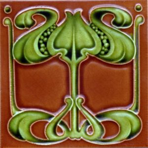 Art Nouveau Stylized Floral Design Tile ref 012