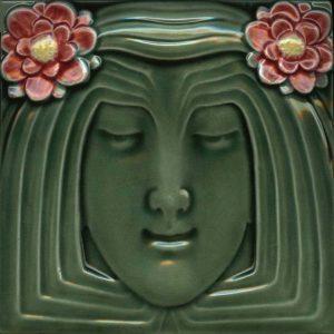 Lady Green Art Nouveau Arts and Crafts Tile  an122