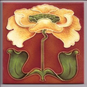 Stylish Art Nouveau Iris Tile ref 019
