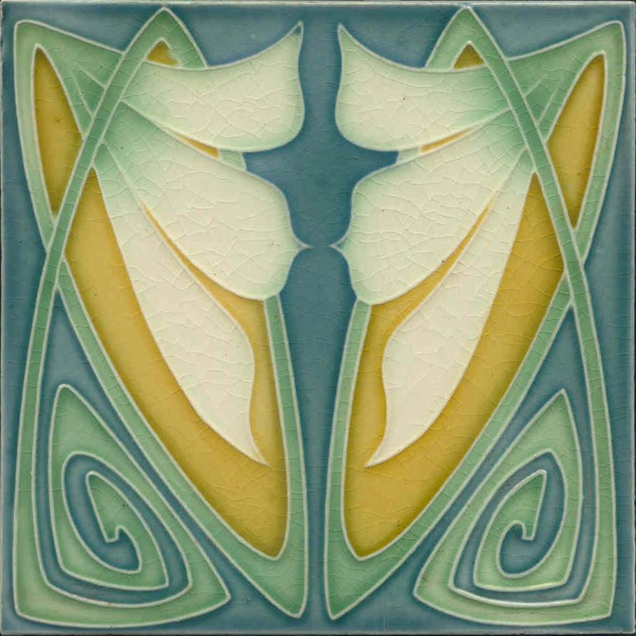 Art Nouveau Arts Crafts Floral Tile Ref 20 Pilgrim Tiles