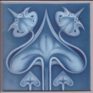 Stylised Art Nouveau Flower Design Tile ref 025