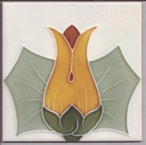Stylised Tulip Head Art Nouveau Tile ref 026
