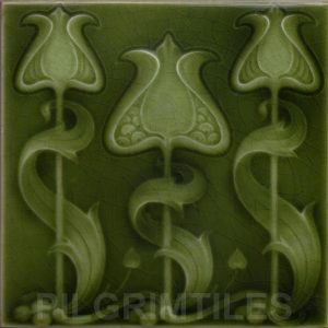 Art Nouveau / Arts & Crafts floral tile ref 27