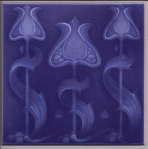 Art Nouveau Stylised Flower Single Colour Tile ref 027 blue