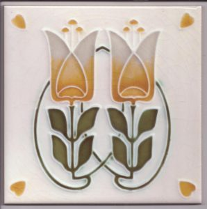 Art Nouveau Stylised Tulip Tile ref 029