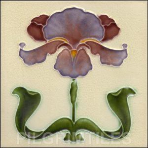 Art Nouveau Stylised Iris Tile ref 030