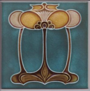 Art Nouveau / Arts & Crafts floral tile ref 031