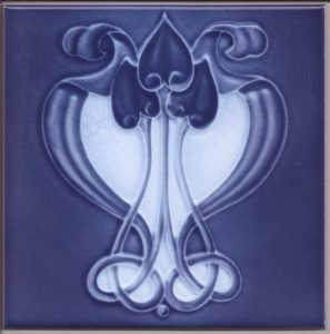 Art Nouveau / Arts & Crafts floral tile ref 036 blue