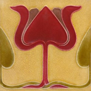 Art Nouveau stylised Tulip Tiles red ref 041