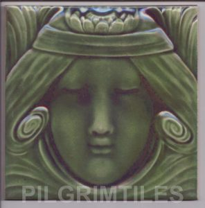 Lady  Green Headband Art Nouveau Arts and Crafts Tile121