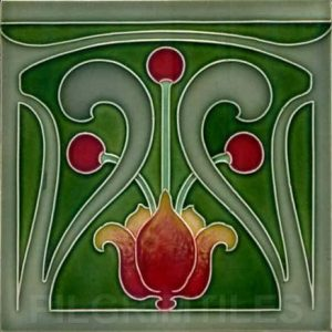 Very Stylised Art Nouveau / Arts & Crafts Tile ref 014