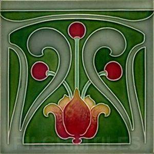 Very Stylised Art Nouveau / Arts & Crafts Tile ref 014
