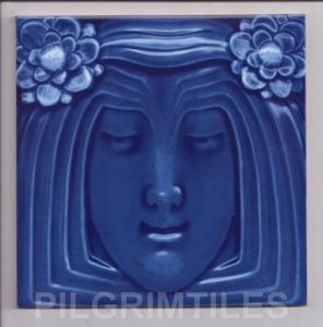 Lady Blue Art Nouveau Arts and Crafts Tile  an117