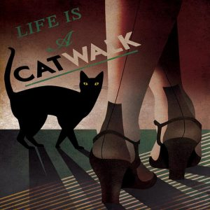 Pin Up Style decorative Tile  cat walk