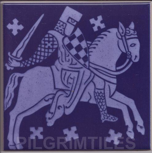 Gothic Style Medieval Knight Tile -blue