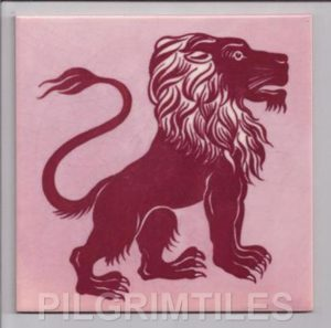 William de Morgan Design Lion Fireplace Tiles red