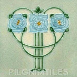 Mackintosh Blue Rose Art Nouveau / Arts & Crafts Tile Mac 2