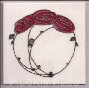 Mackintosh Red Rose Art Nouveau / Arts & Crafts Tile mac 1