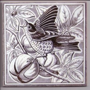 Minton Style Bird Ceramic Tile in Grey