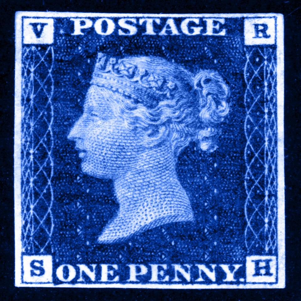 Penny Blue postage stamp design tile