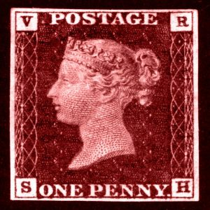 Penny Red postage stamp design tile