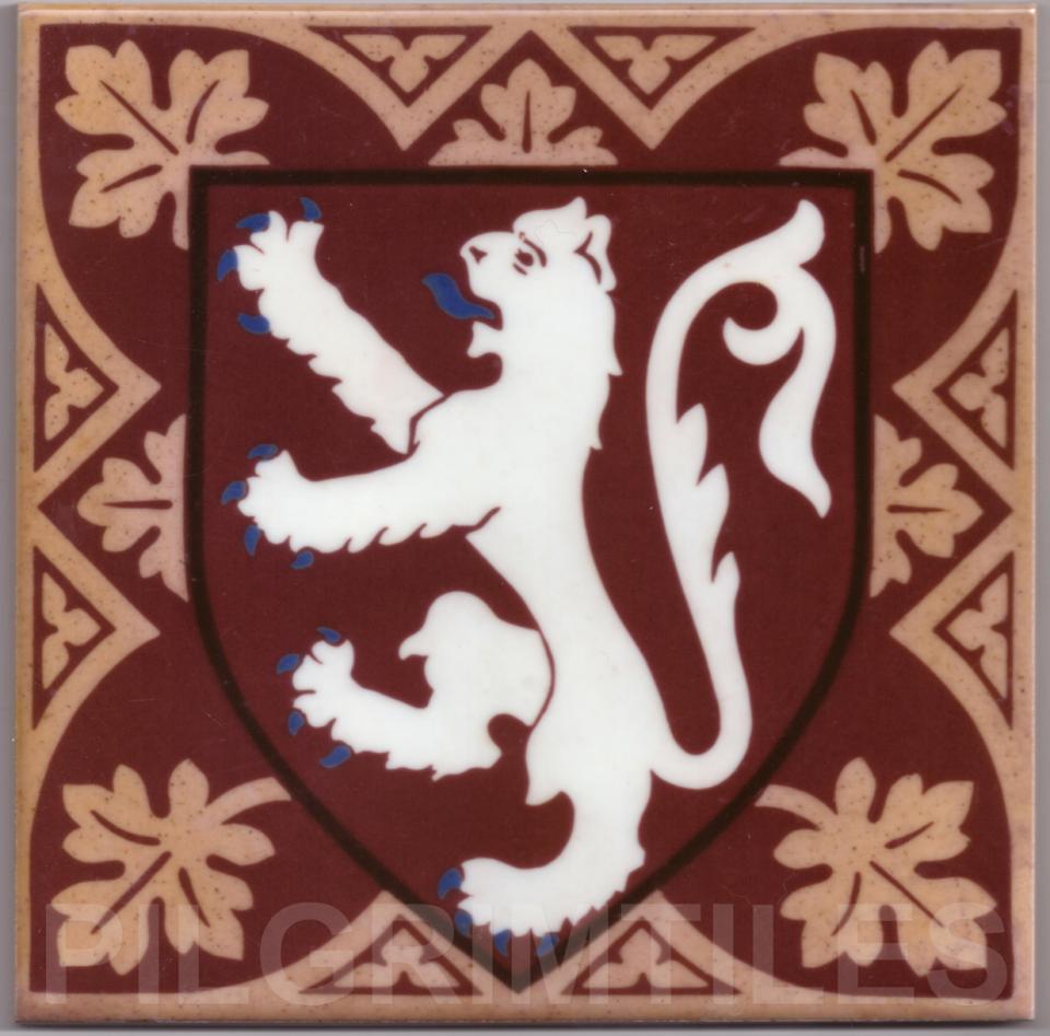 Gothic Style rampant Lion tile ref 02