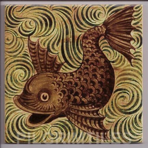 Metric Porcelain Tiles William De Morgan Fish Wall Floor Kitchen Bathroom
