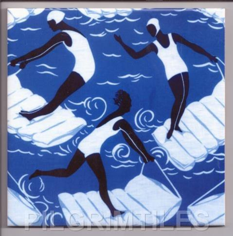 Swimming Pool Art Deco Tile Blue
