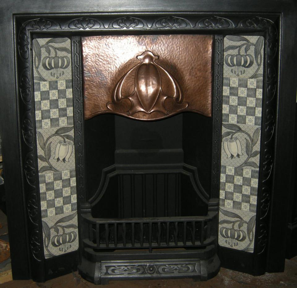 2 x 5 tile panels ref 2 Victorian Style Fireplace Tiles Set