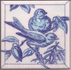 Victorian Style Blue Birds Tile 04