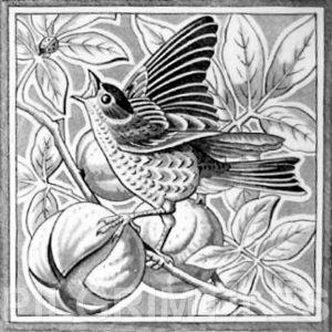 Victorian Style Bird Grey 08