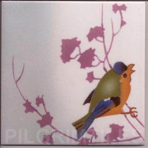 Victorian Style Blue Birds Tile 05