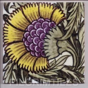 William De Morgan Arts & Crafts BBB Yellow Tile