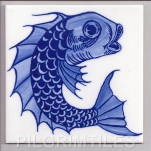 William De Morgan Blue /white Fish 01