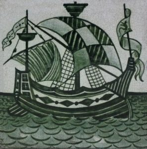 William De Morgan Green Galleon Ceramic Tile