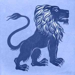 William de Morgan Design Lion Fireplace Tiles blue