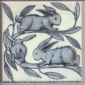 William De Morgan Baby Rabbits Blue/Grey