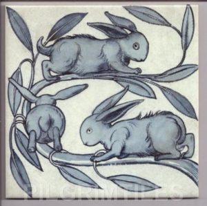 William De Morgan Baby Rabbits Blue/Grey