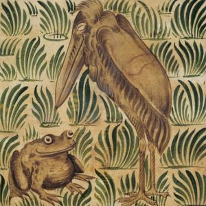 William De Morgan Arts & Crafts Stork & Frog-Brown