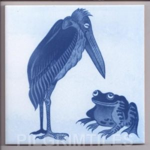 William De Morgan Arts & Crafts Stork & Frog-Blue