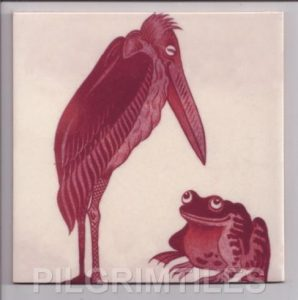 William De Morgan Arts & Crafts Stork & Frog-Red
