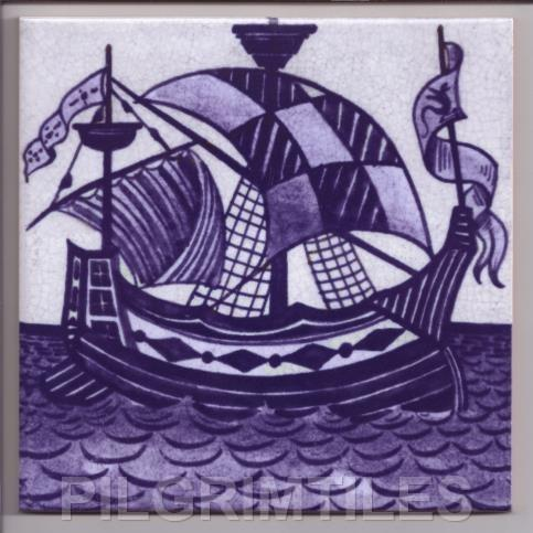 William De Morgan Blue & White Galleon