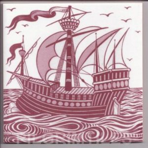 William De Morgan Red & White Galleon